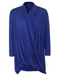 Casual Solid Color Cowl Neck 3/4 Sleeve Pleated Loose Blouse For Women - BLUE