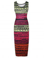Stylish Round Neck Sleeveless Full Letter Print Women's Bodycon Sundress