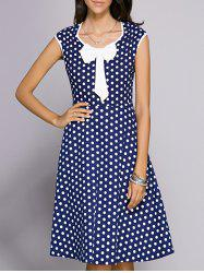 Vintage Bowknot Embellished Polka Dot Women's Dress -