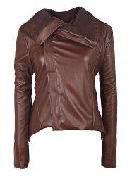 Long Sleeve Asymmetrical Faux Leather Jacket with Fur Collar -