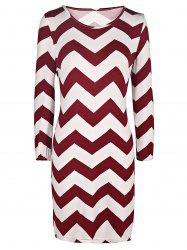 Women's Trendy Zig Zag Scoop Neck 3/4 Sleeve Dress