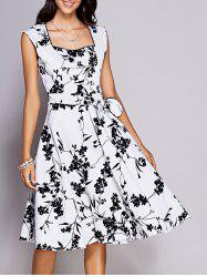 Floral Print Tea Length Vintage Dress - WHITE AND BLACK