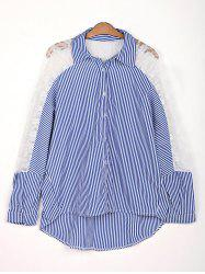 Stylish Shirt Collar 3/4 Sleeve Hollow Out Striped Women's Shirt