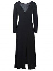 Sexy Plunging Neck Black High Slit Long Sleeve Dress For Women