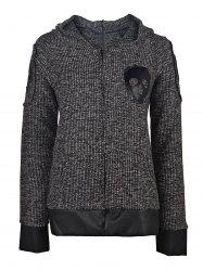 Skull Printed Faux Leather Spliced Zip Up Hoodie For Women - DEEP GRAY