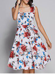 Retro Rose Print Sweetheart Neck Bowknot Embellished Women's Dress -