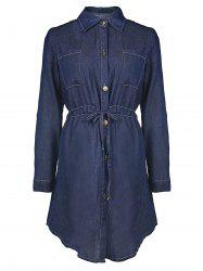 Drawstring Denim Shirt Dress