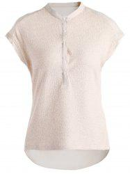 Brief Stand Collar Short Sleeve Back Ruched Solid Color Shirt For Women -