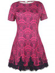 Color Block Crochet Pattern Lace Dress - ROSE