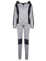 Hooded Faux Fur Spliced Hoodie + Running Pants - GRAY