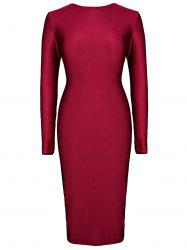 Plunging Neck Long Sleeve Bodycon Women's Dress -
