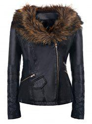 Women's Stylish Faux Fur Long Sleeve PU Coat