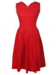 V-Neck Sleeveless A Line Midi Dress - RED S