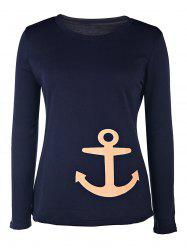 Casual Round Collar Anchor Printed Long Sleeve Pullover Sweatshirt For Women