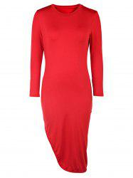 Sexy Round Neck 3/4 Sleeve Solid Color High Slit Women's Dress -