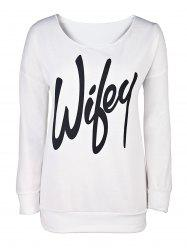 Sexy Letter Printed Slash Neck Pullover Sweatshirt For Women