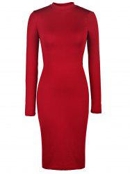Back Cut Out Bodycon Dress with Long Sleeve - WINE RED