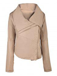 Stylish Solid Color Turn-Down Collar Skew Zippered Jacket For Women