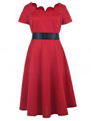 Vintage Style Scoop Neck Short Sleeve Red Women's Ball Gown Dress