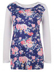 Trendy Scoop Neck Floral Printed Long Sleeve Baseball T-Shirt For Women