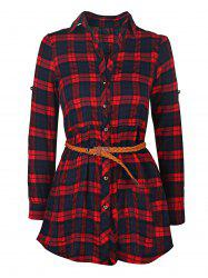 Plaid Long Sleeve Button Up Shirt Dress - RED XL