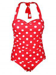Chic Halter Polka Dot Ruffled One-Piece Women's Swimwear