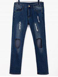 Stylish Mid-Waisted Frayed Broken Hold Design Women's Jeans - BLUE