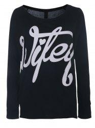 Sexy Skew Neck Long Sleeve Letter Print Hollow Out Women's T-Shirt
