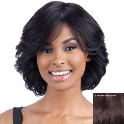 Flufffy Women's Curly Inclined Bang Human Hair Wig -