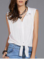 Stylish Shirt Collar Sleeveless Solid Color Knotted Women's Shirt -