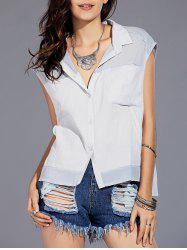 Trendy Shirt Collar Button Design Spliced Asymmetrical Women's Sleeveless Shirt