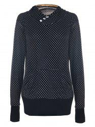 Chic Hooded Long Sleeve Polka Dot Pocket Design Women's Hoodie - BLACK