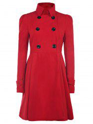 Fit and Flare Double Breasted Coat - RED XL