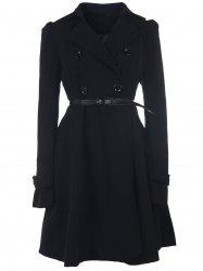 Fit and Flare Double Breasted Coat - BLACK