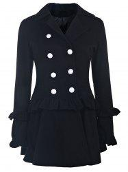 Elegant Turn-Down Collar Long Sleeve Ruffles Double-Breasted Women's Black Coat