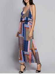 Bohemian Print Slit Long Backless Beach Dress