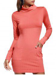 Trendy Marled Turtle Neck Pure Color Long Sleeve Dress For Women