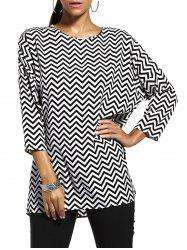 Chic Jewel Neck Zigzag Stripe 3/4 Sleeve T-Shirt For Women -