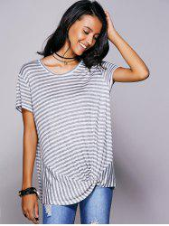 Casual Scoop Neck Striped Twisted T-Shirt For Women -