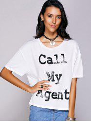 Casual Scoop Neck Letter Pattern Short Sleeve Tee For Women - WHITE L