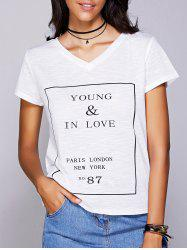 Casual V-Neck Letter Pattern Short Sleeve Tee For Women - WHITE S