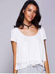 Casual Scoop Neck Ruffled Tiered T-shirt pour les femmes - Blanc