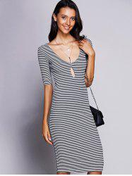 Stylish Keyhole Neck Striped Midi Dress For Women