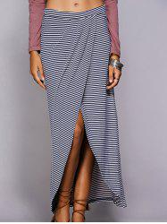 Striped Maxi Skirt With High Slit - BLUE L