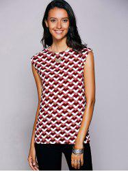 Casual Round Neck Geometric Top For Women - RED L