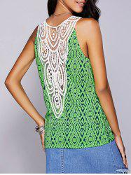 Casual Scoop Neck Geo Crochet Tank Top For Women
