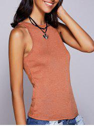 Casual Round Neck Solid Color Tank Top For Women - LATERITE L