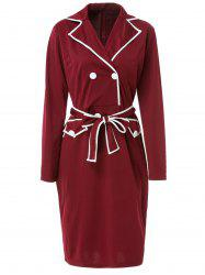 Color Block Belted Long Sleeve Business Dress -