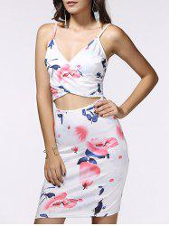 Spaghetti Strap Wrap Cutout Floral Bandage Dress -