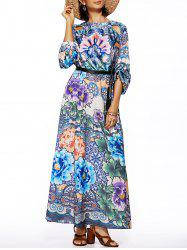 Bohemian Style Women's Long Sleeve Floral Print Round Neck Dress -